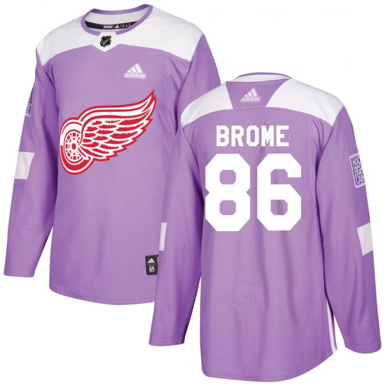 Mathias Brome Detroit Red Wings Youth Authentic Hockey Fights Cancer Practice Adidas Jersey - Purple