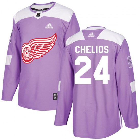 Chris Chelios Detroit Red Wings Youth Authentic Hockey Fights Cancer Practice Adidas Jersey - Purple