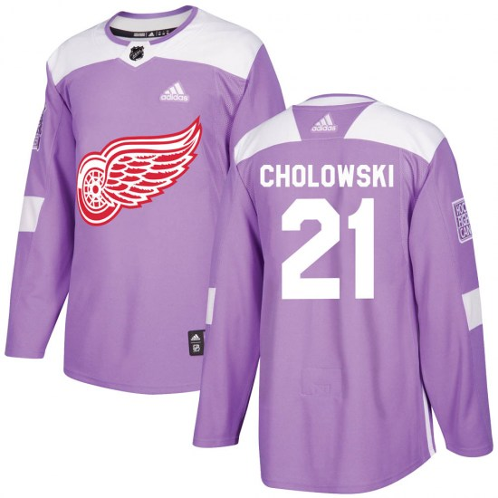 Dennis Cholowski Detroit Red Wings Youth Authentic Hockey Fights Cancer Practice Adidas Jersey - Purple