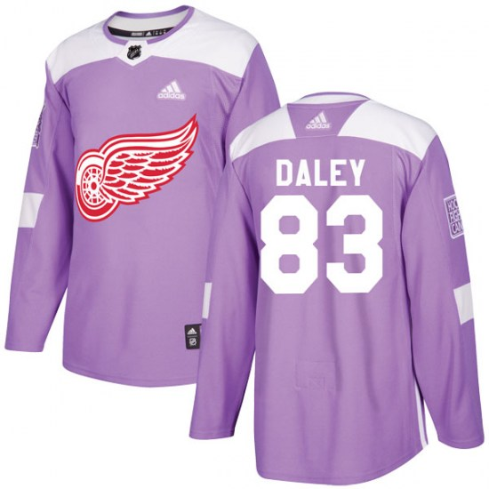 Trevor Daley Detroit Red Wings Youth Authentic Hockey Fights Cancer Practice Adidas Jersey - Purple