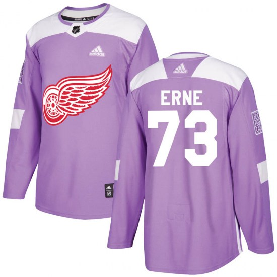 Adam Erne Detroit Red Wings Youth Authentic Hockey Fights Cancer Practice Adidas Jersey - Purple