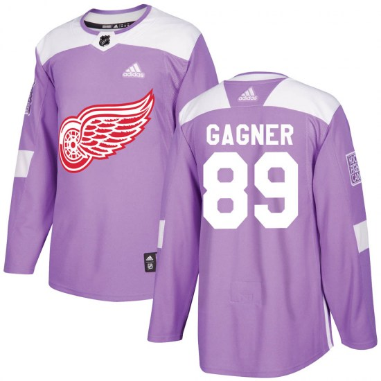 Sam Gagner Detroit Red Wings Youth Authentic ized Hockey Fights Cancer Practice Adidas Jersey - Purple