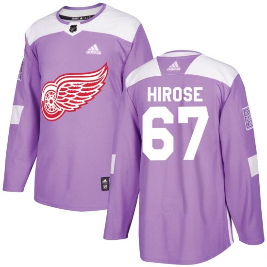 Taro Hirose Detroit Red Wings Youth Authentic Hockey Fights Cancer Practice Adidas Jersey - Purple