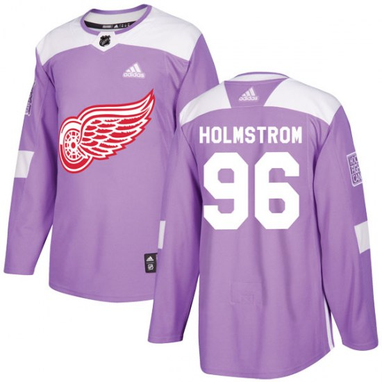 Tomas Holmstrom Detroit Red Wings Youth Authentic Hockey Fights Cancer Practice Adidas Jersey - Purple