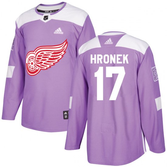 Filip Hronek Detroit Red Wings Youth Authentic Hockey Fights Cancer Practice Adidas Jersey - Purple