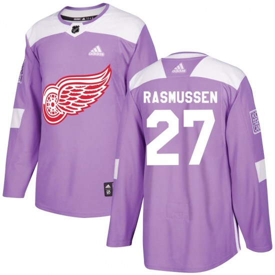Michael Rasmussen Detroit Red Wings Youth Authentic Hockey Fights Cancer Practice Adidas Jersey - Purple