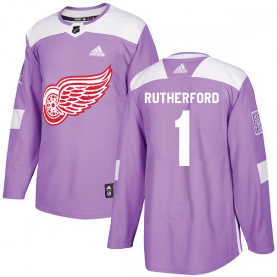 Jim Rutherford Detroit Red Wings Youth Authentic Hockey Fights Cancer Practice Adidas Jersey - Purple