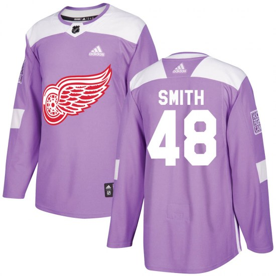 Givani Smith Detroit Red Wings Youth Authentic Hockey Fights Cancer Practice Adidas Jersey - Purple