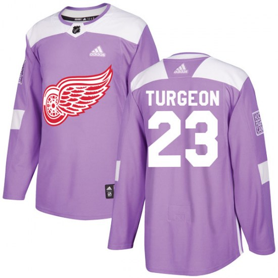 Dominic Turgeon Detroit Red Wings Youth Authentic Hockey Fights Cancer Practice Adidas Jersey - Purple
