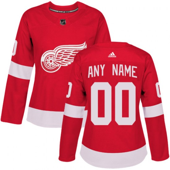 Custom Detroit Red Wings Women's Authentic Home Adidas Jersey - Red