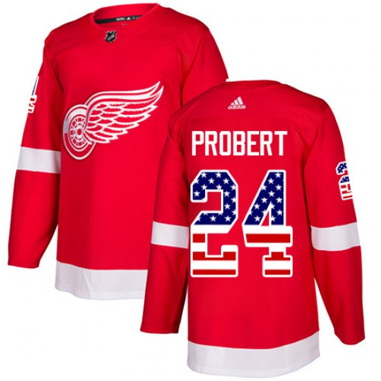 Bob Probert Detroit Red Wings Authentic USA Flag Fashion Adidas Jersey - Red