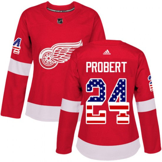 Bob Probert Detroit Red Wings Women's Authentic USA Flag Fashion Adidas Jersey - Red
