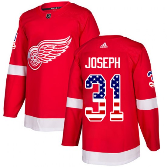 Curtis Joseph Detroit Red Wings Authentic USA Flag Fashion Adidas Jersey - Red