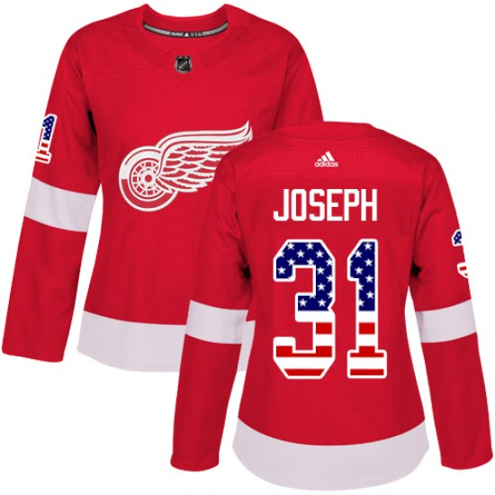 Curtis Joseph Detroit Red Wings Women's Authentic USA Flag Fashion Adidas Jersey - Red