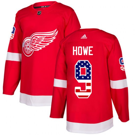 Gordie Howe Detroit Red Wings Youth Authentic USA Flag Fashion Adidas Jersey - Red
