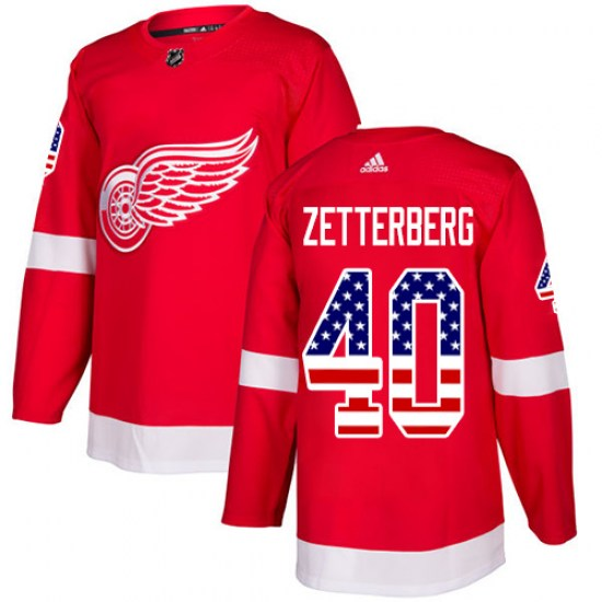 Henrik Zetterberg Detroit Red Wings Authentic USA Flag Fashion Adidas Jersey - Red