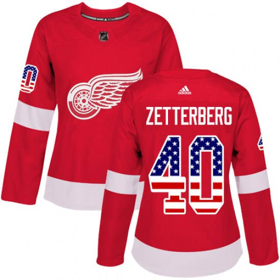 Henrik Zetterberg Detroit Red Wings Women's Authentic USA Flag Fashion Adidas Jersey - Red