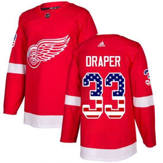 Kris Draper Detroit Red Wings Authentic USA Flag Fashion Adidas Jersey - Red