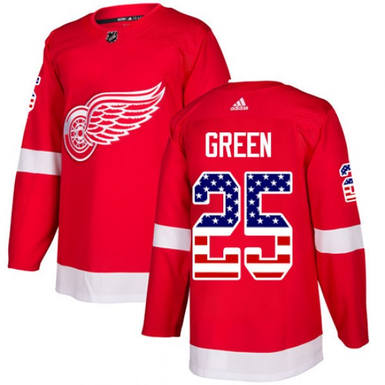 Mike Green Detroit Red Wings Authentic Red USA Flag Fashion Adidas Jersey - Green
