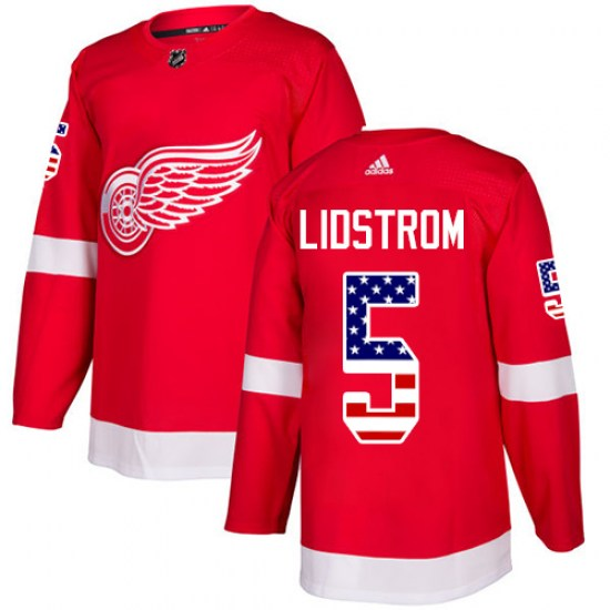 Nicklas Lidstrom Detroit Red Wings Authentic USA Flag Fashion Adidas Jersey - Red