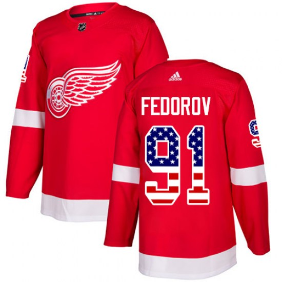 Sergei Fedorov Detroit Red Wings Authentic USA Flag Fashion Adidas Jersey - Red
