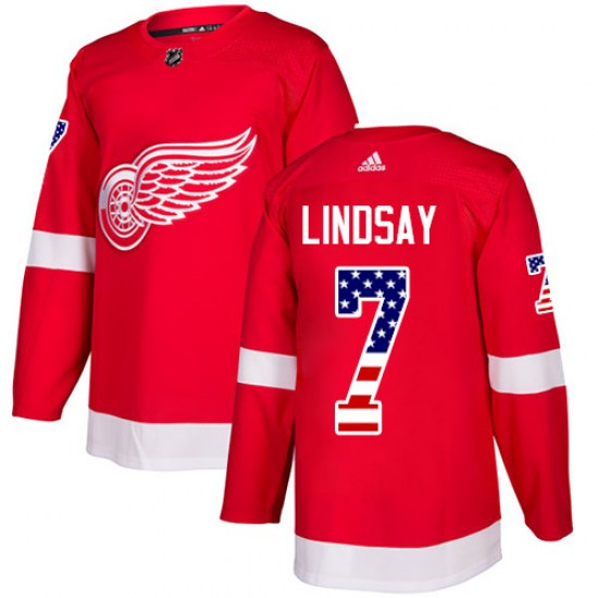 Ted Lindsay Detroit Red Wings Authentic USA Flag Fashion Adidas Jersey - Red