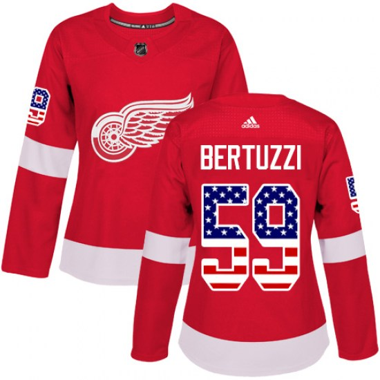 Tyler Bertuzzi Detroit Red Wings Women's Authentic USA Flag Fashion Adidas Jersey - Red