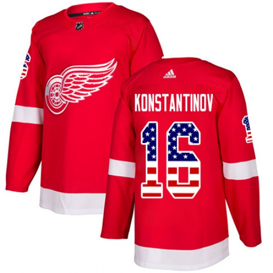 Vladimir Konstantinov Detroit Red Wings Authentic USA Flag Fashion Adidas Jersey - Red