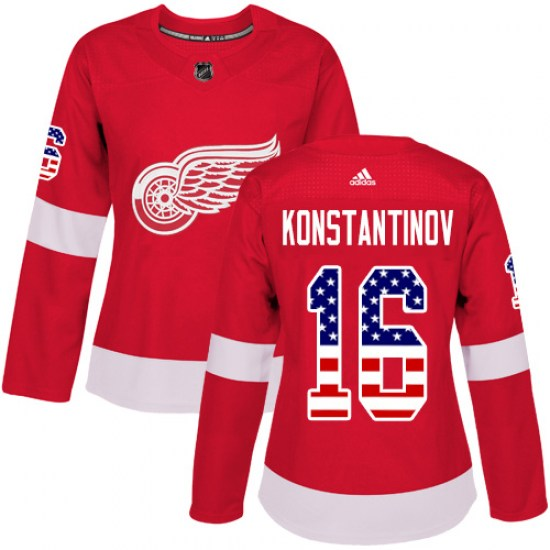 Vladimir Konstantinov Detroit Red Wings Women's Authentic USA Flag Fashion Adidas Jersey - Red